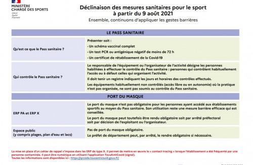 Décisions sanitaires pour le sport au 8 avril.